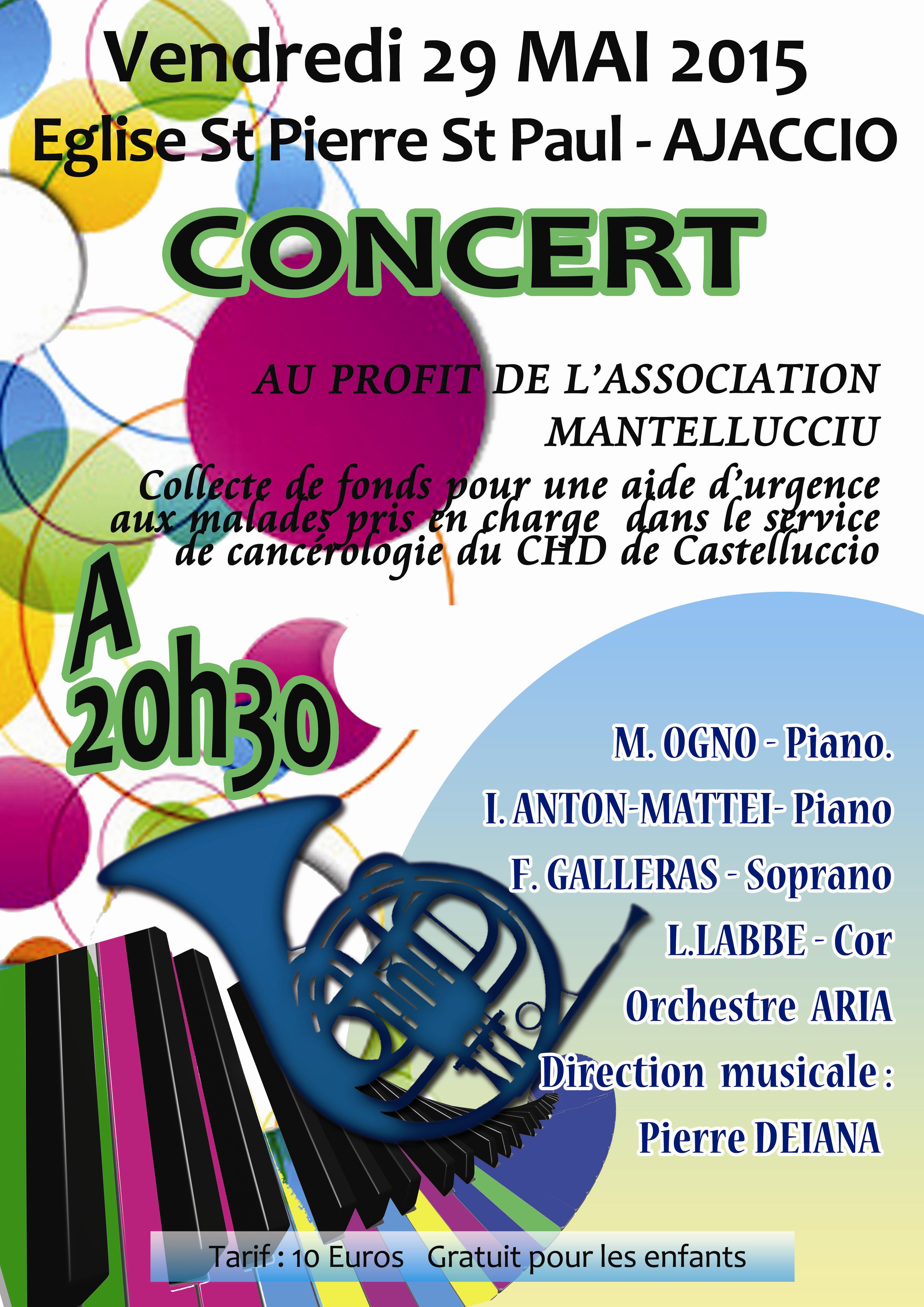 Concert vendredi au profit des patients hospitalisés en oncologie à Castelluccio