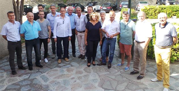 Marie-Claude Filippi et Gilles Testou au centre co-président la Société corse de Médecine du sport