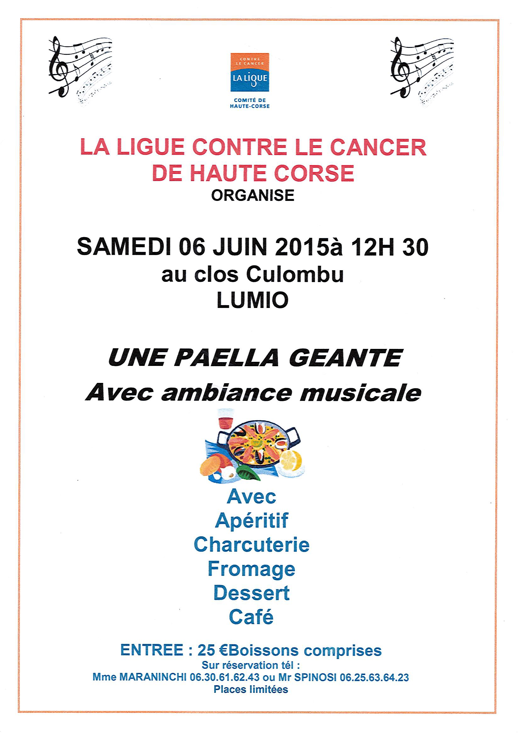Paella géante pour la bonne cause le 6 juin au CLos Colombu