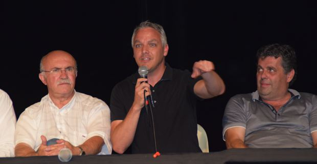 Francis Guidici, Siméon de Buochberg et François Orsucci, maires de Ghisonaccia, Prunelli et Tallone.