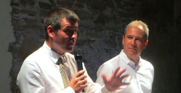 François Casasoprana et Jean Zuccarelli, conseiller exécutif à l'Assemblée de Corse, conseiller municipal PRG et président de l'ADEC.