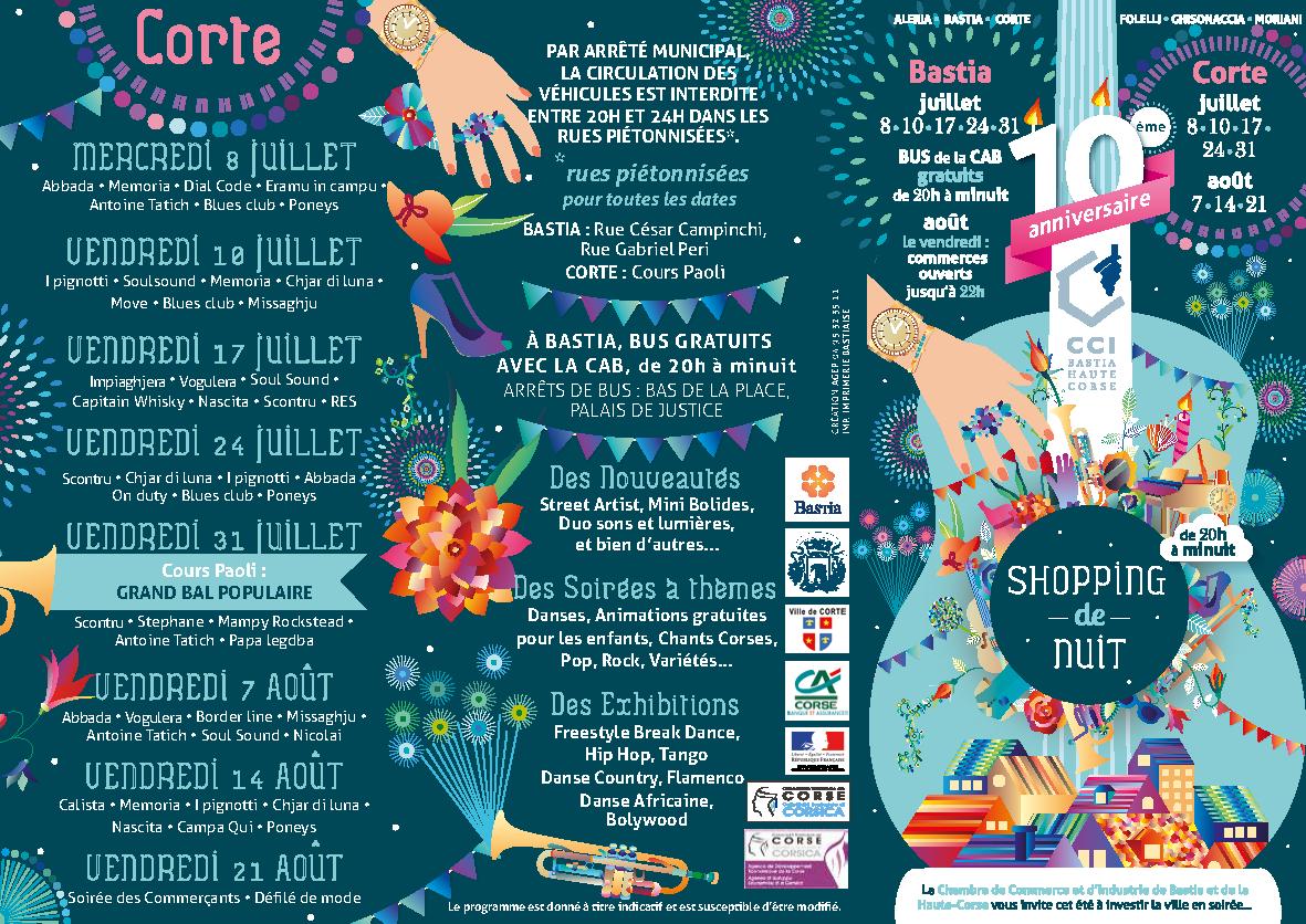 Shopping de nuit à Corte et Bastia : Tout le programme
