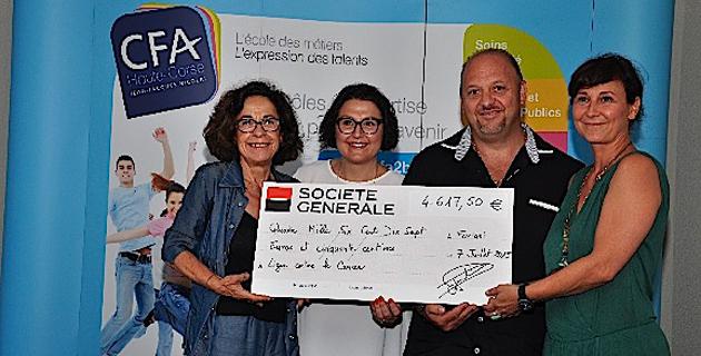 CFA de Haute-Corse : Un chèque de 4.617,50 € au comité de la ligue contre le cancer pour la vie
