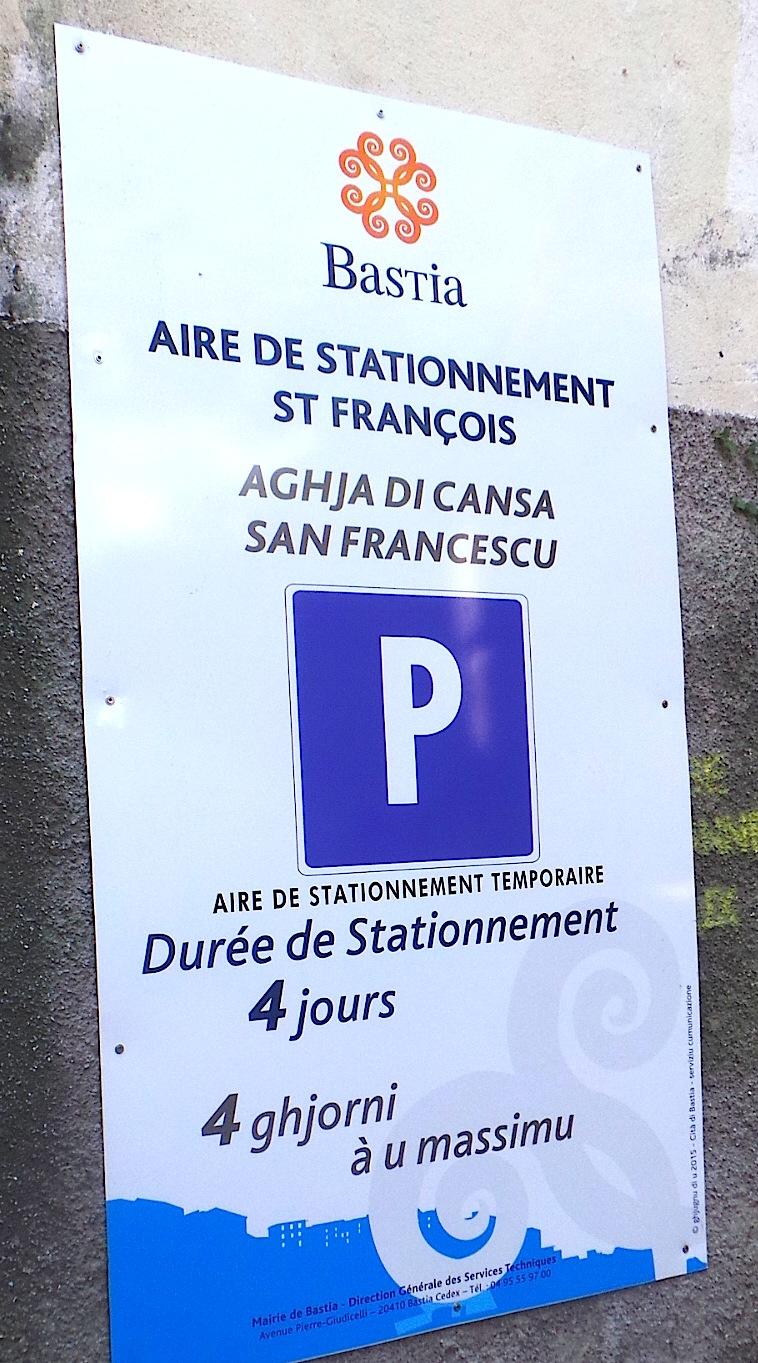Parking Saint-François : 90 places gratuites au centre-ville de Bastia