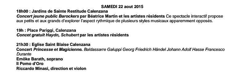 Calenzana : Musiques classique et contemporaine du 17 au 22 Août