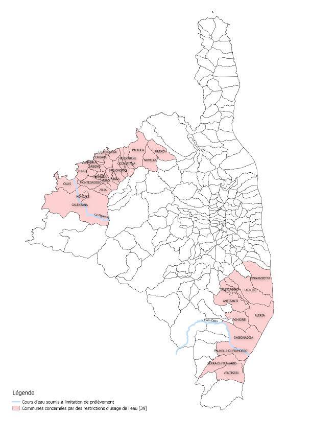 Restrictions de l'usage de l'eau pour 39 communes de Balagne et du Sud de la Plaine Orientale