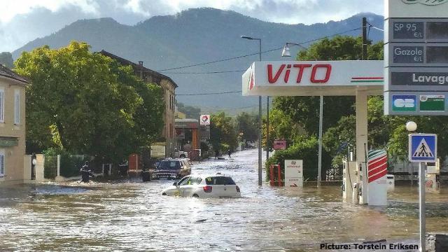 La RT20 au niveau du carrefour de Ponte Leccia.