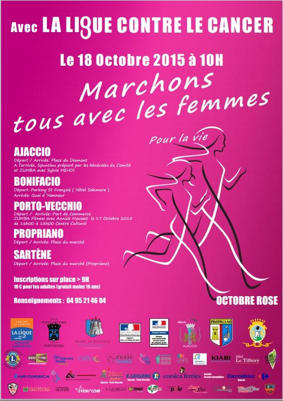 """""""Ligue contre le cancer : """" Marchons avec les femmes pour la vie"""" dans toutes les villes de Corse"""