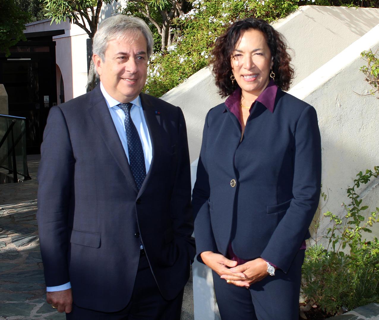Ange Santini, maire de Calvi et Monique Quesada, consul général des Etat-Unis ppour le Sud de la France