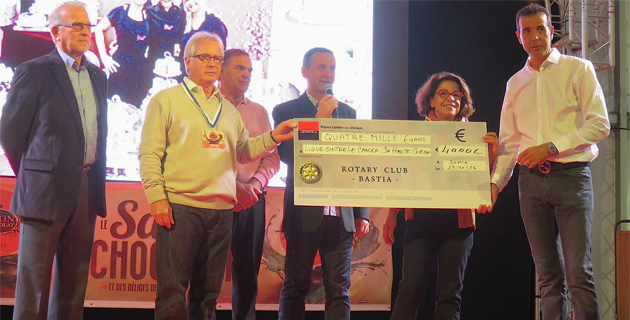Rotary club de Bastia : Un chèque de 4 000€ à la ligue contre le cancer