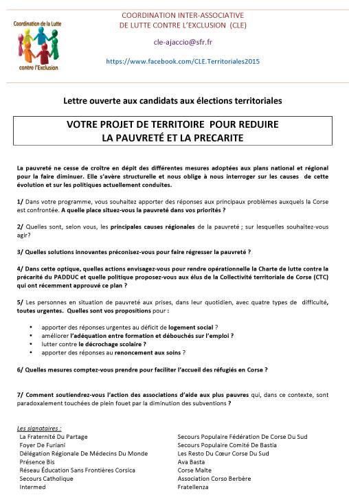 Questionnaire adressé aux candidats