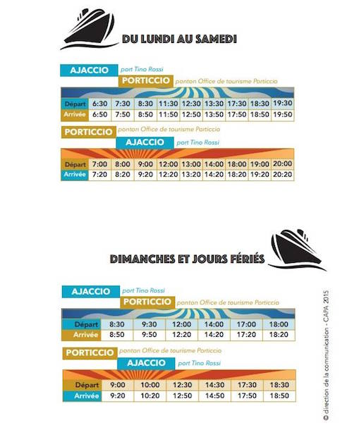 Les horaires de la navette maritime