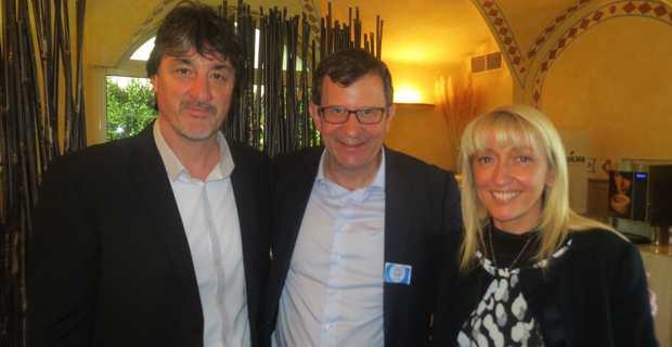 Christophe Borgel, député de Haute-Garonne, Secrétaire national du PS chargé des élections, entouré d'Emmanuelle De Gentili et de Jean-Baptiste Luccioni, leaders de « La Corse qui ose ».