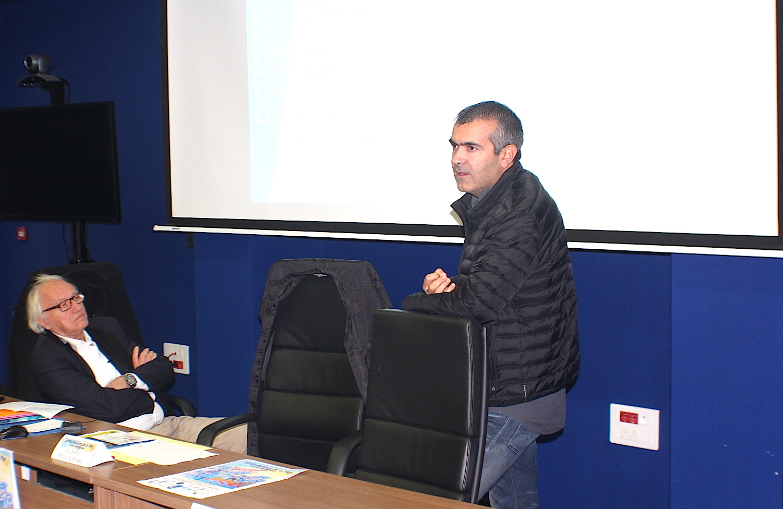Jean-Valère Geronimi (à gauche) pendant la présentation de Stella Mare, effectuée par Antoine Aïello, directeur de la plateforme