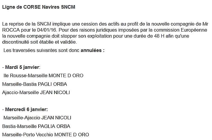 La SNCM devient CMM : L'exploitation interrompue pendant 48 heures