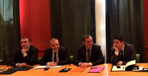 L'Exécutif et la présidence de l'Assemblée de Corse lors de la rencontre avec l'Intersyndicale des marins de la MCM et de la CMN. Photo CTC.