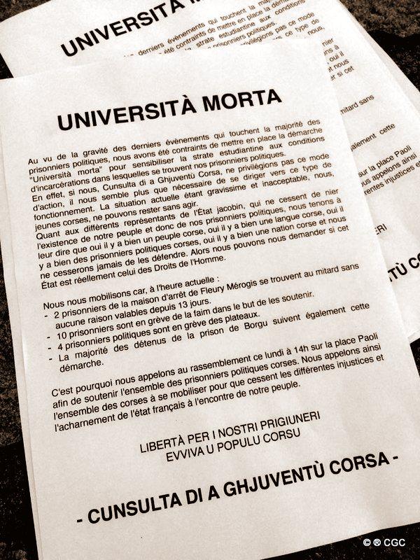 Università morta et et rassemblement à Corte à l'initiative de la CGC