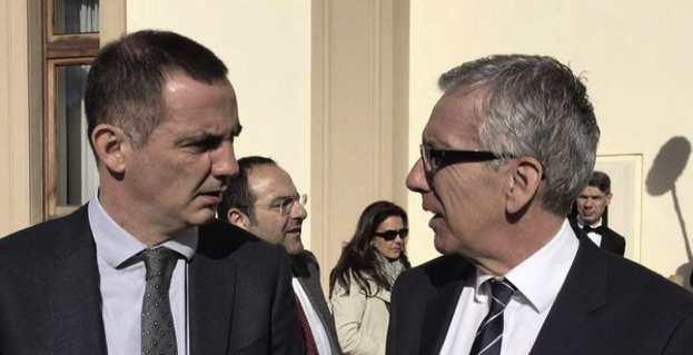 Gilles Simeoni, président du Conseil Exécutif de la Corse, et Francesco Pigliaru, président de la Région autonome de la Sardaigne.