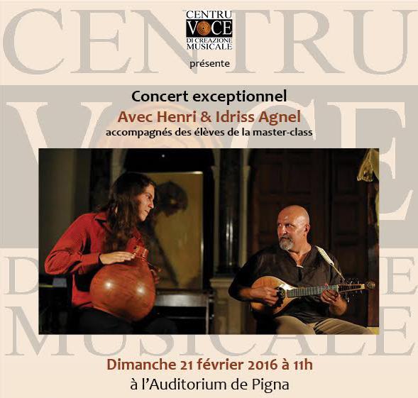 Concert exceptionnel à Pigna le 21 février avec Henri et Idriss Agnel