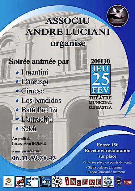 Association André-Luciani : Un concert jeudi au théâtre de Bastia au profit d'Inseme