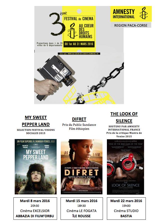 Le festival du cinéma d'Amnesty international fait escale à Abazzia, L'Ile-Rousse et Bastia