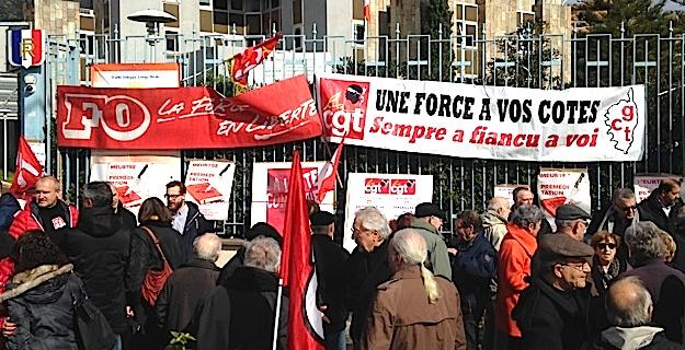 Réforme du code du travail : Manifestation des syndicats devant la préfecture de Haute-Corse