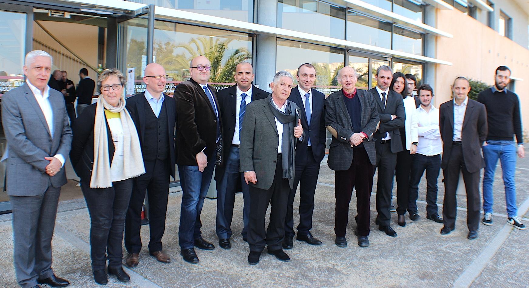 Le comité de sélection et de suivi d'Inizià avec Jean-Christophe Angelini et les représentants de Neutramiante et Bowkr