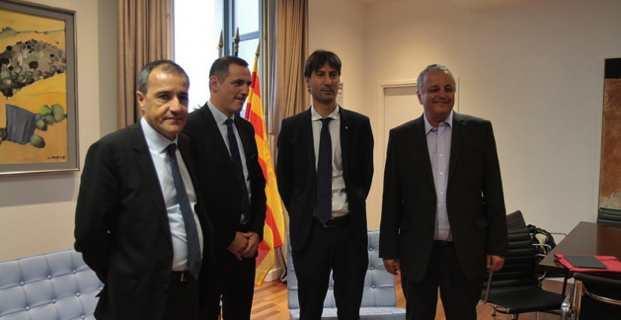 François Alfonsi, président de l'ALE, et Jordi Solé, membre du gouvernement catalan, reçu à l'Hôtel de région par le président du Conseil exécutif, Gilles Simeoni, et le président de l'Assemblée de Corse, Jean-Guy Talamoni.