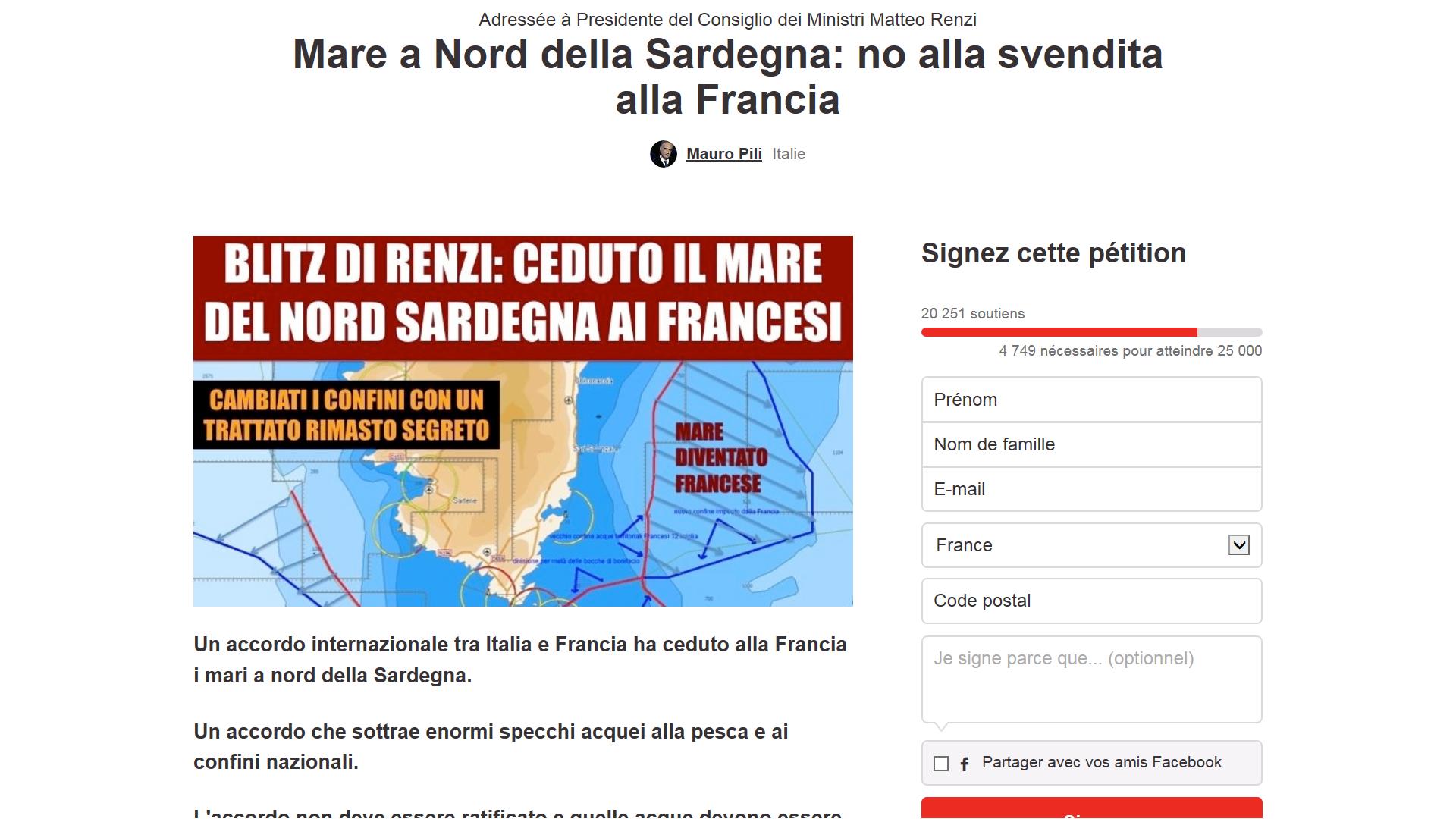 20 0000 signatures pour une pétition qui invite les Sardes à protester contre la cession de la mer de Corse