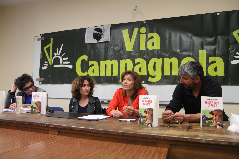De gauche à droite : Josée Vanucci, Isabelle Saporta, Nelly Lazzarini et Paul André Fluixa