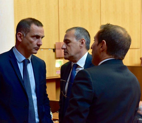 Gilles Simeoni, Jean-Guy Talamoni et Jean-Sébastien De Casalta.