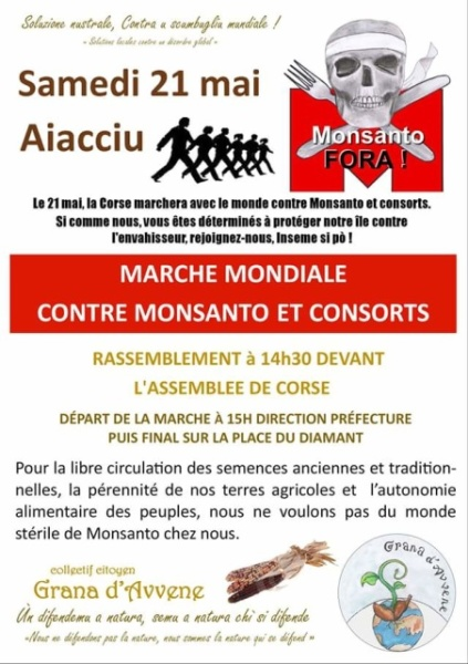 « Marche Mondiale contre Monsanto et consort » samedi 21 mai à Ajaccio