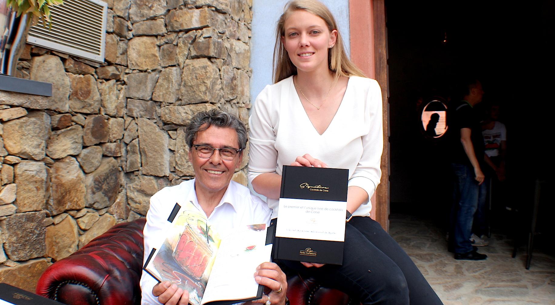 """Florie Castellana et Gérard Haton-Gauthier  ont signé """"Signature, cocktails de Corse"""" samedi au Domaine Mavela"""
