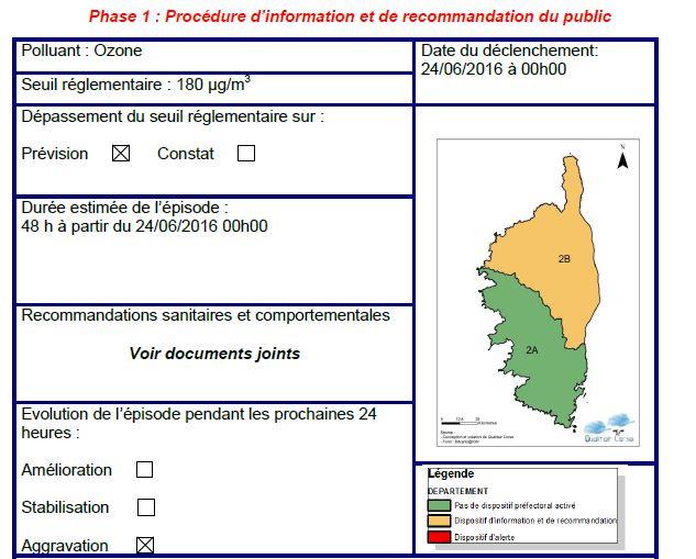 Alerte à la pollution atmosphérique en Haute-Corse