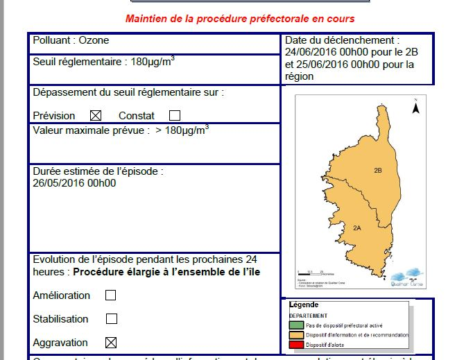 Pollution en Corse : Maintien de la procédure d'informations et de recommandations