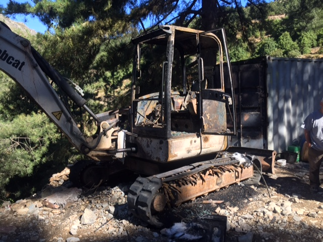 Des engins de chantier visés  par un incendie criminel à Mausoleo