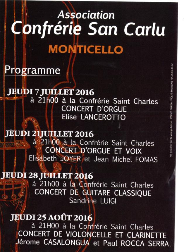Premier concert des jeudis de Monticellu  à la confrérie San Carlu