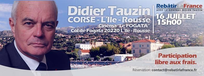 Le général Tauzin, candidat à la présidentielle, à Bastia et L'Ile-Rousse