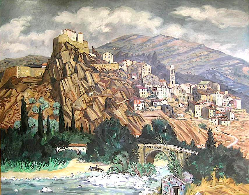 Yves Brayer  (1907-1990)  Corte, 1982  Huile sur toile