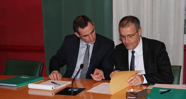 Gilles Simeoni, président du Conseil exécutif de la Collectivité territoriale de Corse (CTC), et Jean-Guy Talamoni, président de l'Assemblée de Corse.
