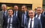 Les trois députés nationalistes, Jean-Félix Acquaviva, Michel Castellani et Paul-André Colombani, en compagnie de Gilles Simeoni, président de l'Exécutif territorial, Jean-Guy Talamoni, président de l'Assemblée de Corse, et Jean-Christophe Angelini, conseiller exécutif et président de l'ADEC.