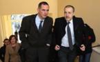 Gilles Simeoni et Jean-Guy Talamoni en fin de journée à Matignon