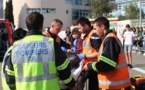 Simulation d'un accident devant  le Collège de Calvi