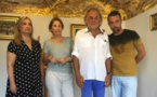 "Lucia et Elisabeth Gillio, André Casabianca et René Rossi, fondateur de l'association culturelle ""Bastia Citadelle"""