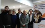 Etienne Meloni, 4ème en partant de la gauche, entouré du Père François-Dominique, Michel Latil, président EDC PACAM, l'aumonier de la faculté de médecine à Marseille et Dominique Vaschalde, président EDC Corse du sud