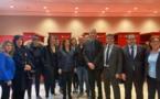 La ministre des Sports, Roxana Maracineanu, les députés corses, les membres du Collectif, soulagés apres l'adoption de la loi par l'Assemblée Nationale