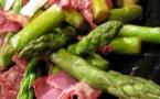 A table : poêlée d'asperges vertes et coppa