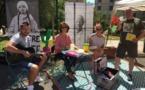 Tito Limongi (auteur, poète, chanteur..), Marie-Paule Franceschetti (comédienne), Eloïse Casanova (Action culturelle de la ville de Bastia) et Orlando Forioso (Directeur du Teatreuropa) ont animé les abords du Square Nelson Mandela à Bastia