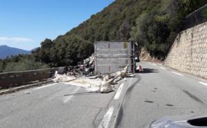 Olmeto : Un camion se couche sur la chaussée. Le chauffeur blessé