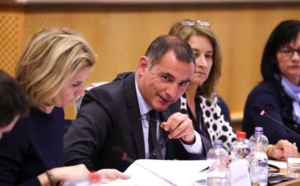 Le président du Conseil exécutif de la Collectivité de Corse et président de la Commission des Iles (CDI) de la CRPM (Conférence des Régions Périphériques Maritimes), Gilles Simeoni, à Bruxelles, avec Nanette Maupertuis, conseillère exécutive en charge des affaires européennes et membre du Comité des régions.